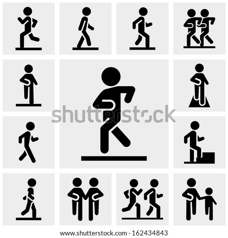 Walking vector icons set on gray  - stock vector