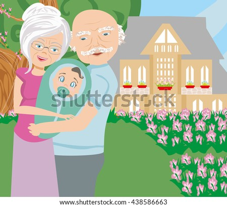 walking with grandson - stock vector