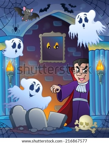 Wall alcove with Halloween theme 3 - eps10 vector illustration. - stock vector