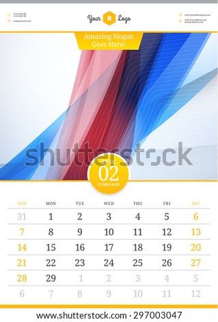 Wall Calendar 2016. February. Vector Template with Abstract Background. Week Starts Sunday - stock vector