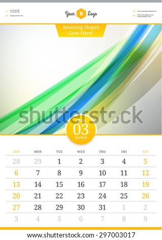 Wall Calendar 2016. March. Vector Template with Abstract Background. Week Starts Sunday - stock vector