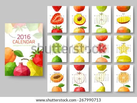 Wall calendar 2016 - polygonal fruit and berries. Vector illustration - stock vector