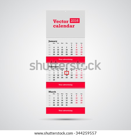 Wall calendar vector template. Vertical calendar template with three month sections and advertising placeholders with springs and day marker isolated on white background. - stock vector