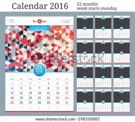 Wall Calendar 2016. Vector Template with Place for Photo. 12 Months. Week Starts Monday.  - stock vector