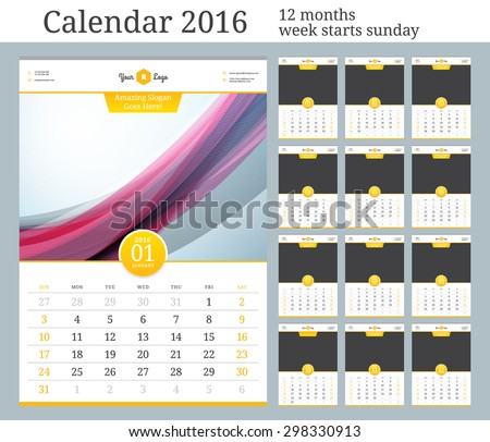 Wall Calendar 2016. Vector Template with Place for Photo. 12 Months. Week Starts Sunday.  - stock vector