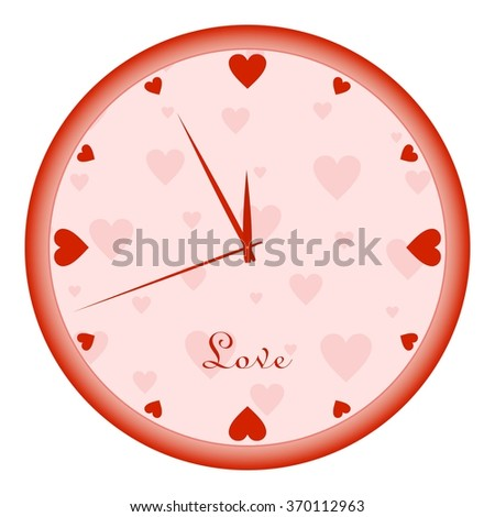 Wall clock clock face with red hearts and red hands on the background of pink hearts with red rim with the word love on a white background - stock vector