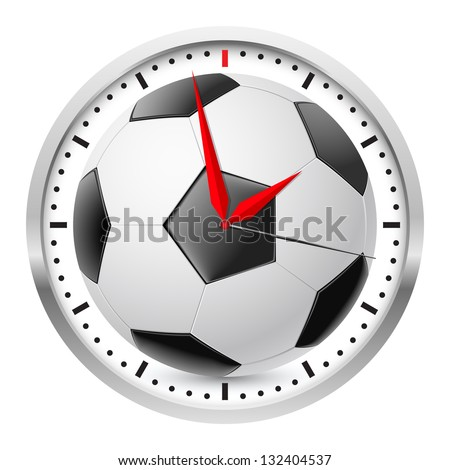 Wall clock. Football style. Illustration on white background - stock vector
