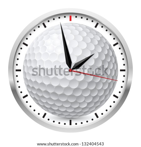 Wall clock. Golf style. Illustration on white background - stock vector