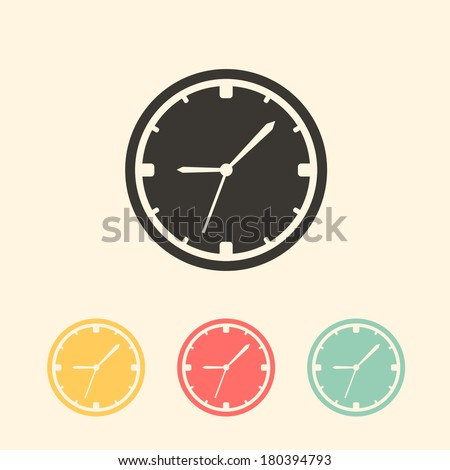 wall clock icon. flat style vector illustration - stock vector