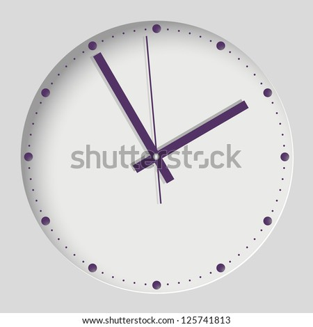 Wall Clock. Purple Style. EPS10. - stock vector