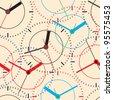 Wall clock. Vector illustration. Seamless. - stock vector