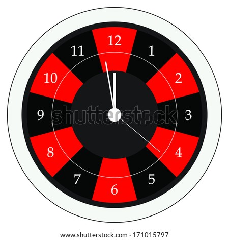 Wall clock vector isolated on white background. Roulette wheel design. - stock vector