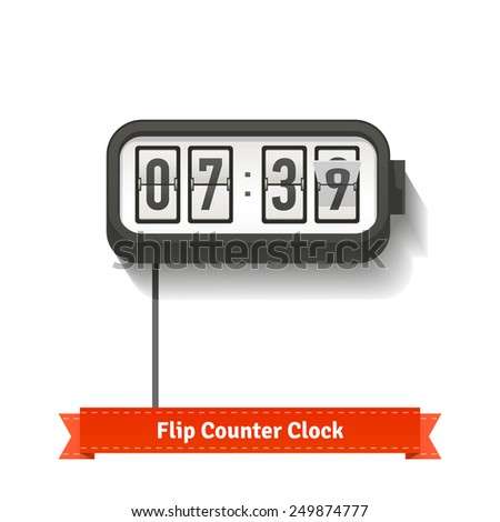 Wall flipping clock and number counter template plus all numbers with flips. Flat style illustration or icon. EPS 10 vector. - stock vector