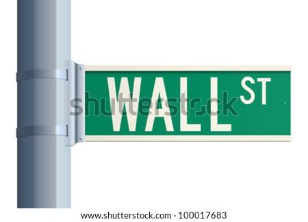 Wall Street sign - stock vector