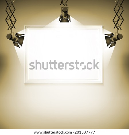 Wall with picture  Vector illustration spotlight light spot frame background art - stock vector