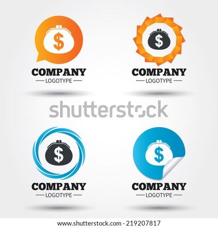 Wallet dollar sign icon. Cash bag symbol. Business abstract circle logos. Icon in speech bubble, wreath. Vector - stock vector