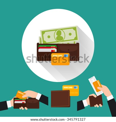 Wallet flat icon with card and cash. Payment options. Vector illustration. - stock vector