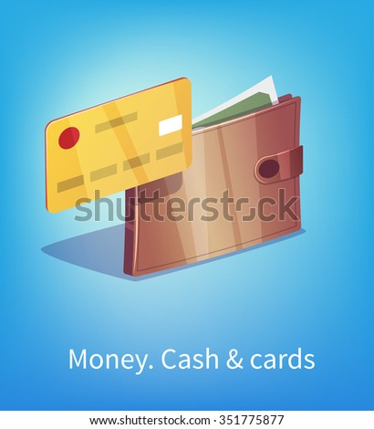 Wallet full of dollars and green money with plastic credit card. - stock vector
