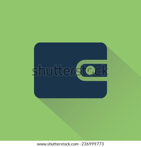 Wallet on background shadow vector sign with shadow.  - stock vector