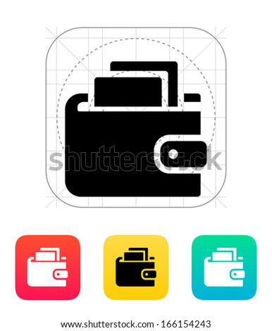Wallet with cash icon on white background. Vector illustration. - stock vector
