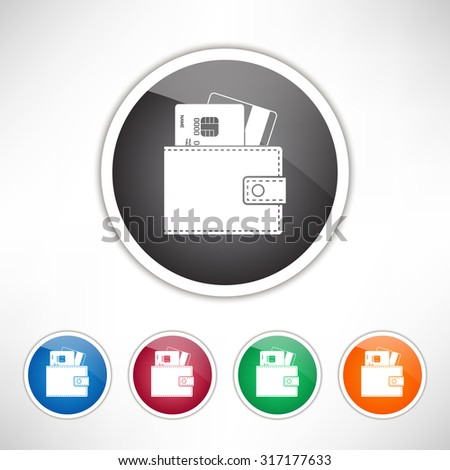 Wallet with credit cards inside icon. Set of colored icons. - stock vector