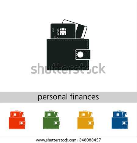 Wallet with credit cards inside. Set of varicolored icons. - stock vector