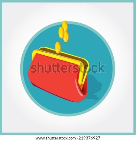 wallet with golden coins -flat vector icon  - stock vector