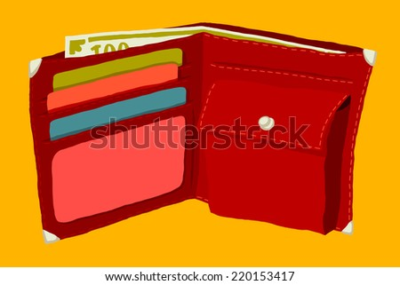 Wallet with money and credit cards. - stock vector