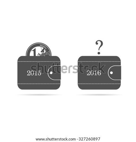 wallet with money euro 2015 vector - stock vector