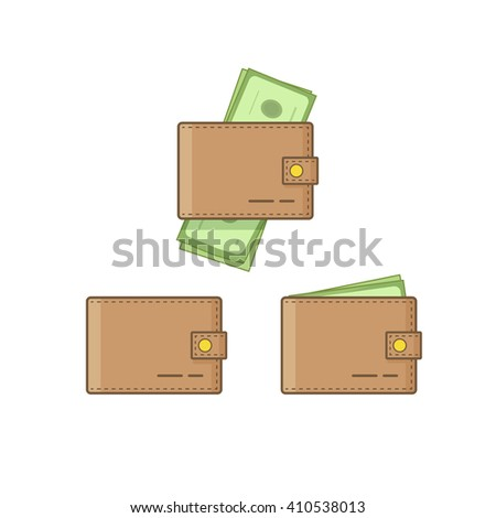 Wallet with money vector icon set isolated on white background, empty wallet and brown pocketbook cash flat cartoon simple design, linear outline style - stock vector