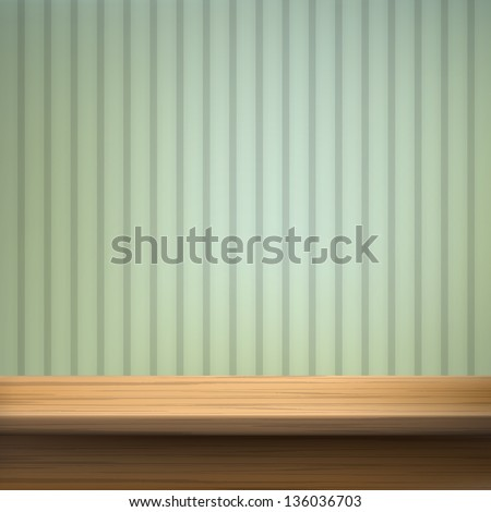 Wallpaper background with wooden table. Vector set. - stock vector