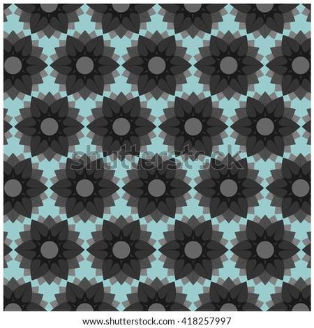 wallpaper blue background gray flowers element flora - stock vector