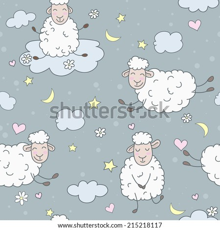 Wallpaper for children. Abstract lamb seamless pattern background vector illustration. Night Theme.   - stock vector