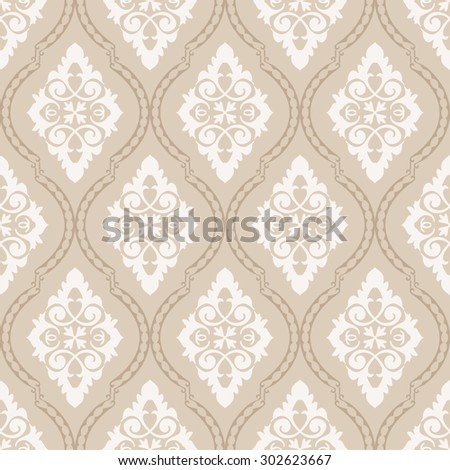 Wallpaper in classic style. Damask ligature pattern. Seamless background. - stock vector