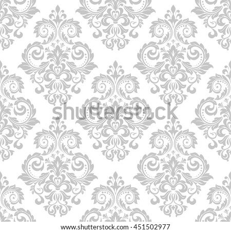 Wallpaper in the style of Baroque. A seamless vector background. Gray and white texture. Floral ornament. Graphic vector pattern. - stock vector