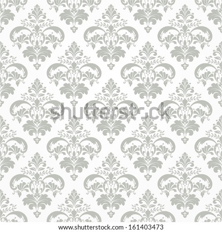 Wallpaper in the style of Baroque. A seamless vector background. Green and white texture. - stock vector