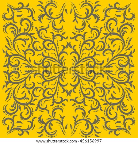Wallpaper in the style of Baroque. Gray and yellow ornament,  can be user for wallpaper, invitation, cards,  pattern fills, background,surface textures. - stock vector