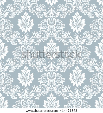Wallpaper in the style of Baroque. Luxury floral pattern. Seamless vector background. Damask floral pattern.  - stock vector