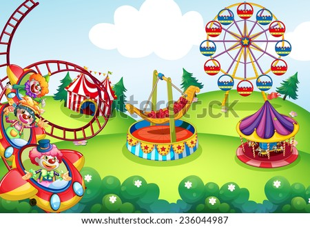 Wallpaper of circus and theme park design - stock vector