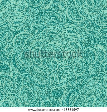 Wallpaper textile seamless paisley pattern. Mehndi ethnic tattoo henna doodle vector elements pattern. Vector editable illustration in eps. Vintage retro style - stock vector