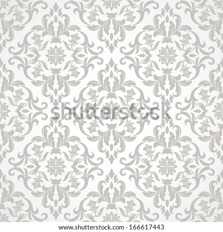 Wallpaper, tile  in the style of Baroque. A seamless vector background. Gray and white texture. - stock vector