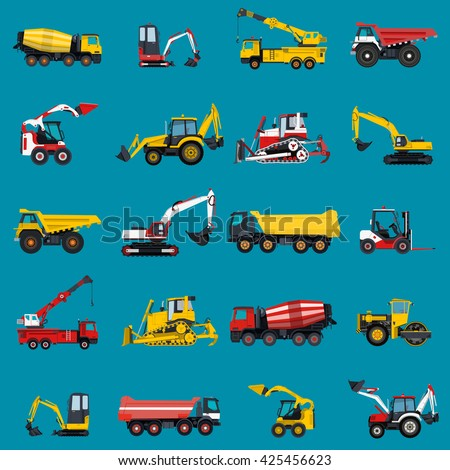 Wallpaper with construction machinery set on blue. Ground works background. Machine vehicles. Excavator, truck, digger, crane, bagger, mix, lorry. Heavy pavement foundation. Master vector illustration - stock vector