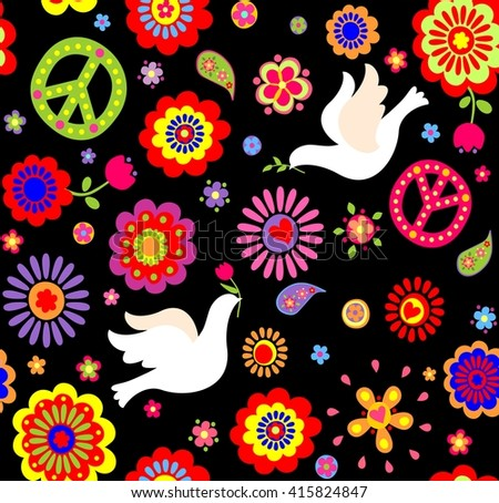 Wallpaper with hippie symbolic - stock vector