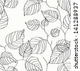 Wallpaper with leaves. Seamless pattern - stock vector