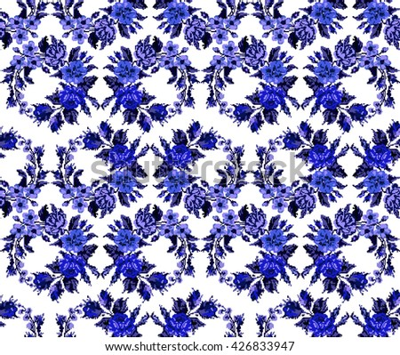 Wallpapers or textile. Monochromatic blue  circle  bouquet of flowers (roses, chamomile and cornflowers) using traditional Ukrainian embroidery elements. Seamless. Pattern. Can be used as pixel-art. - stock vector