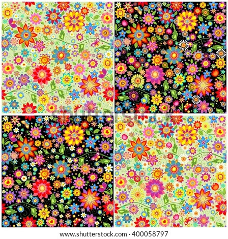 Wallpapers with colorful abstract funny flowers - stock vector