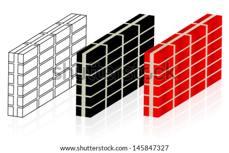 Walls - 3 different brick walls - stock vector