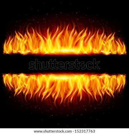 Walls of fire in mirror reflection with blank space between them. Illustration on black background. - stock vector