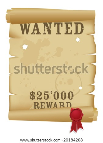Wanted poster - stock vector