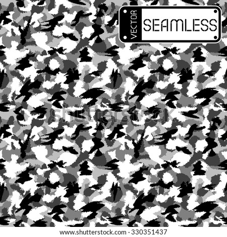 War black and white urban camouflage seamless vector pattern. Can be used for wallpaper, pattern fills, web page background, surface textures. Vector illustration - stock vector
